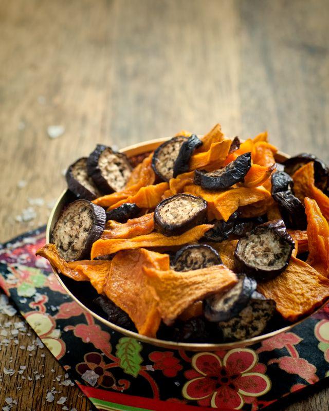Pumpkin & Eggplant Chips - lightly salted. Movie time snacks!