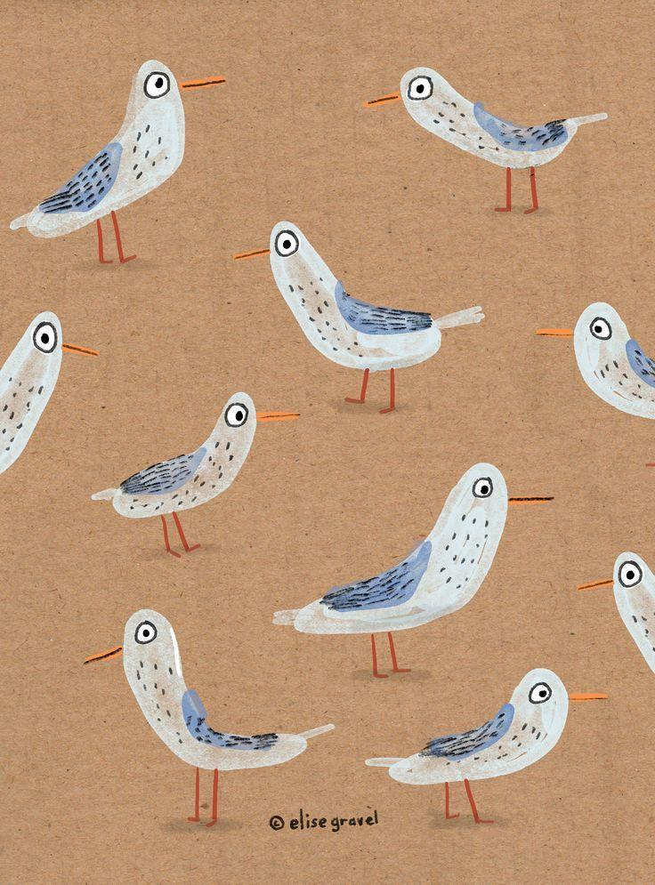Elise Gravel • illustration • seagulls • art • birds • beach • summer • cute • pattern • brown • animals •