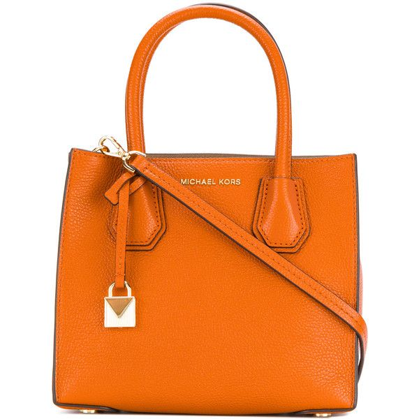 Michael Kors small square tote bag ($286) ❤ liked on Polyvore featuring bags, handbags, tote bags, orange, tote purses, leather tote purse, orange tote bag, orange tote and leather handbag tote