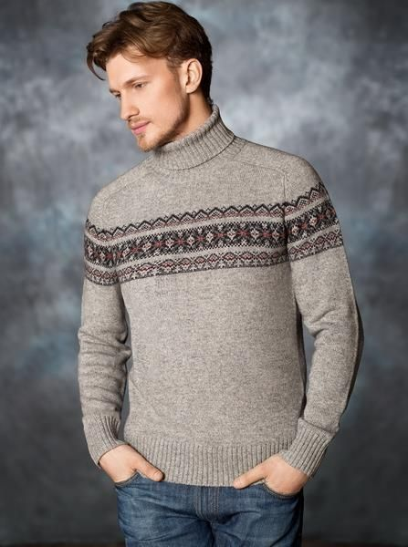 Вязаный мужской свитер зимний