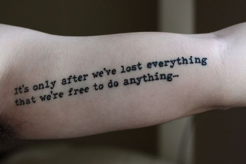 Fight Club Quote tattoo that I have been wanting since I read the book. Different font though.