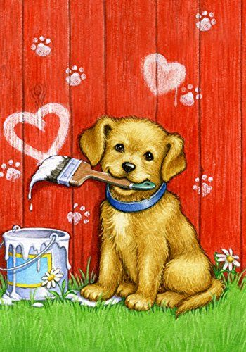 Toland Home Garden Painter Puppy 28 x 40Inch Decorative