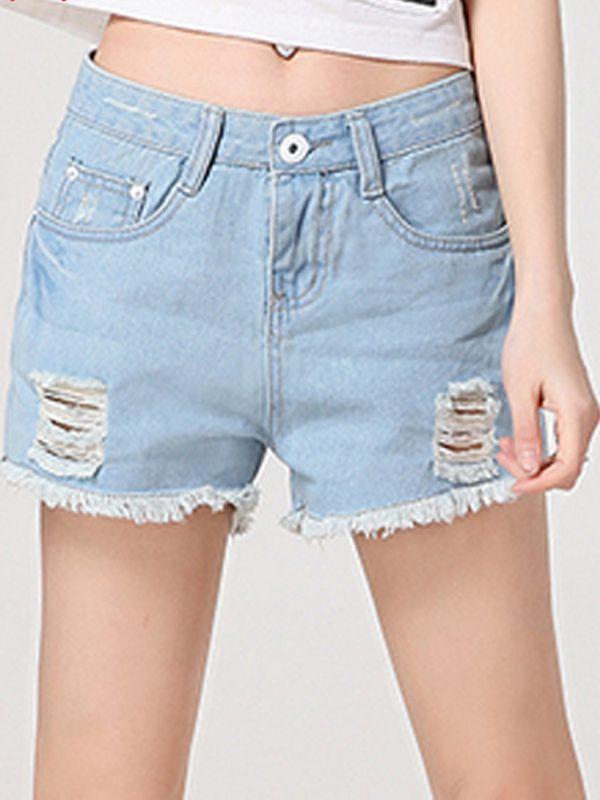 High Waist Pockets Street Button Fly Shorts : KissChic.com