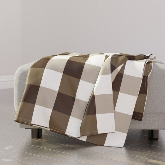 Rustic Throw Blanket Gingham By Peacoquettedesigns Check Brown Rustic Farmhouse White Throw Blanket With Spoonflower Fabric White Throw Blanket Spoonflower Fabric White Throws