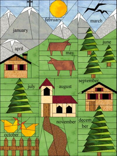 Paper Piecing BOM (2005) I LOVE the idea of making a quilt that represents each month of the year! There's countless possibilities!!