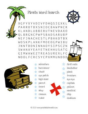 Pirate Word Search for Children - Printable Treats
