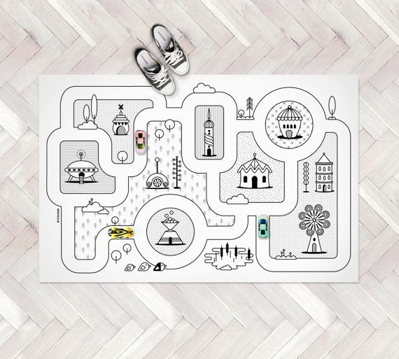 Monochrome Nursery / Game Road Map City Rug / Kids by petekdesign