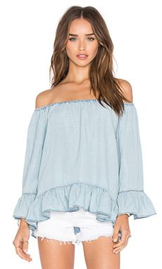 Sanctuary Julia Off Shoulder Top in Kaskade Wash