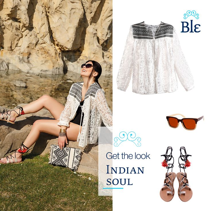 The delicately made kimono, the sandals strapped high to the ankle and the shift bag to match it all, shape the ultimate Indian inspired look! Get it here www.ble-shop.com #MyBleSummer