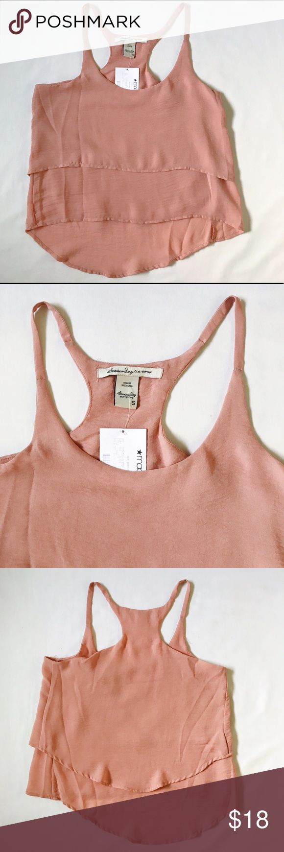 NWT American Rag Flowy Asymmetric Tank New with tags, never worn American Rag flowy top in a peachy rosey salmon color. American Rag Tops Blouses