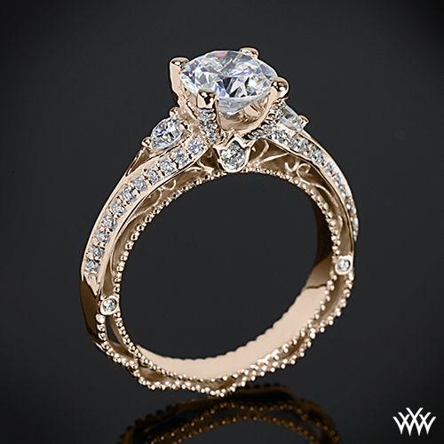 20k Rose Gold Verragio AFN 5021R 4 Bead Set Knife Edge Diamond Engagement Rin