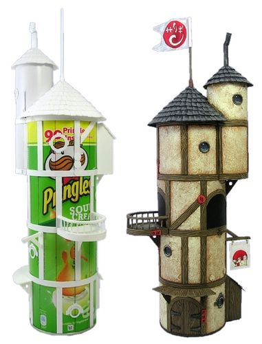 Upcycled Pringles can: garden fairy house