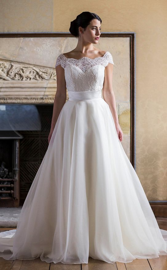 Skyler corset with organza ball gown skirt simple floaty for Simple corset wedding dresses