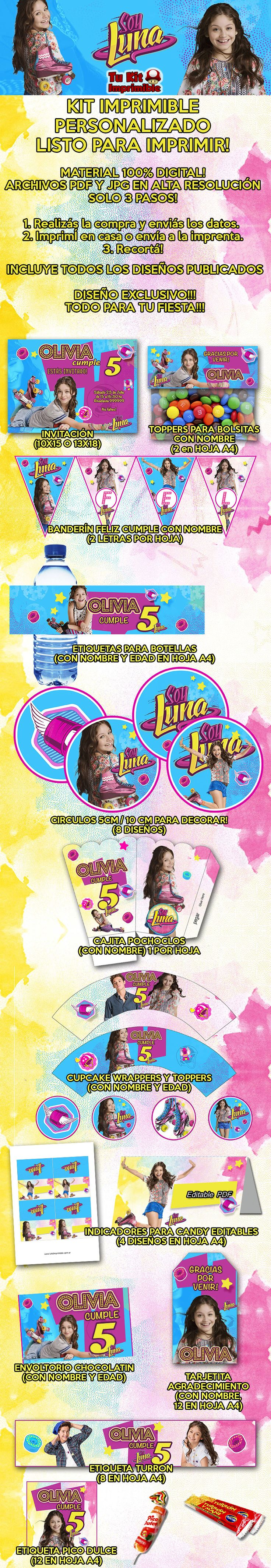 Kit Imprimible Soy Luna Invitaciones Candy Bar