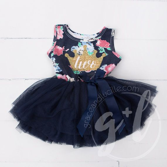 Second Birthday Floral Outfit Dress With Crown And Navy
