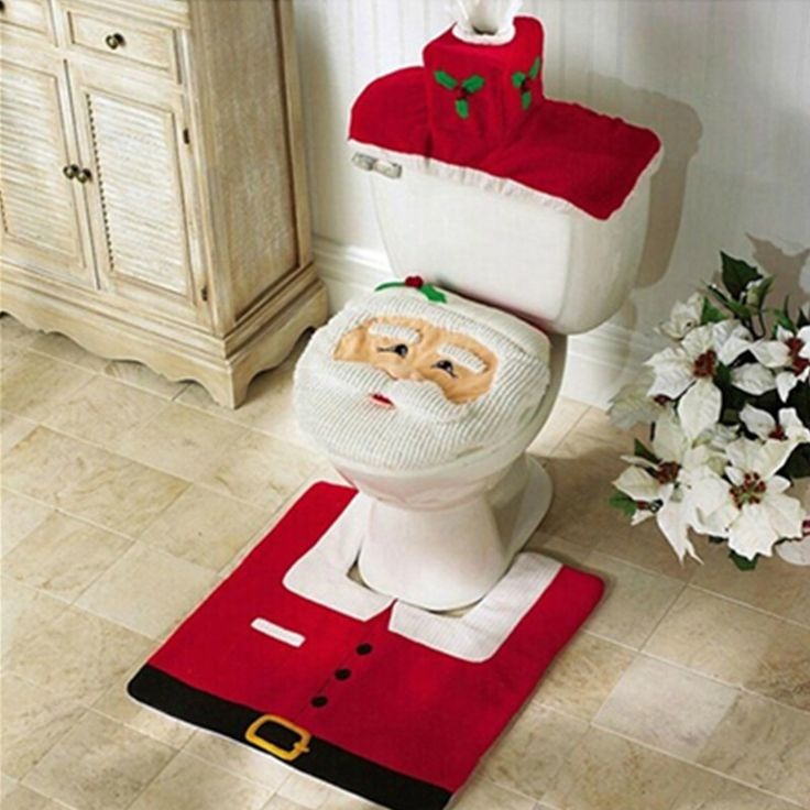 3Pcs Set 2016 New Fashion Santa Clause Toilet Seat Cover Rug Bathroom Christmas