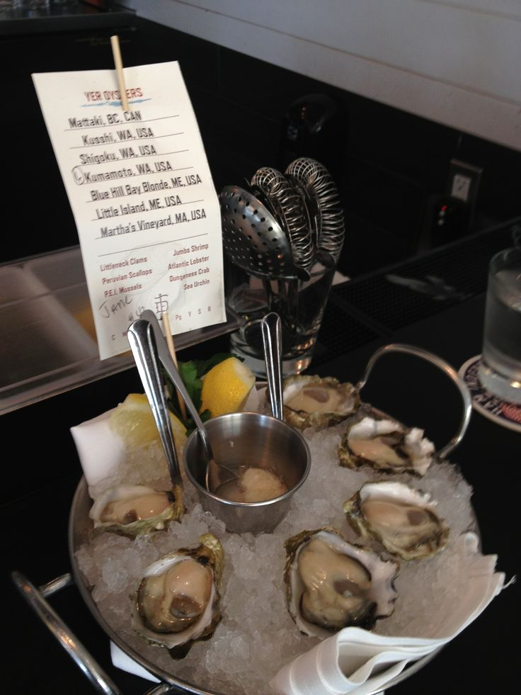 Kumamoto oysters.  Fishing with Dynamite, Manhattan Beach.  David LeFevre, Michelin star chef from CIA