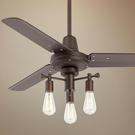 44 plaza oil rubbed bronze nostalgic edison ceiling fan 8x468 9c201 - Industrial style ceiling fan with light ...
