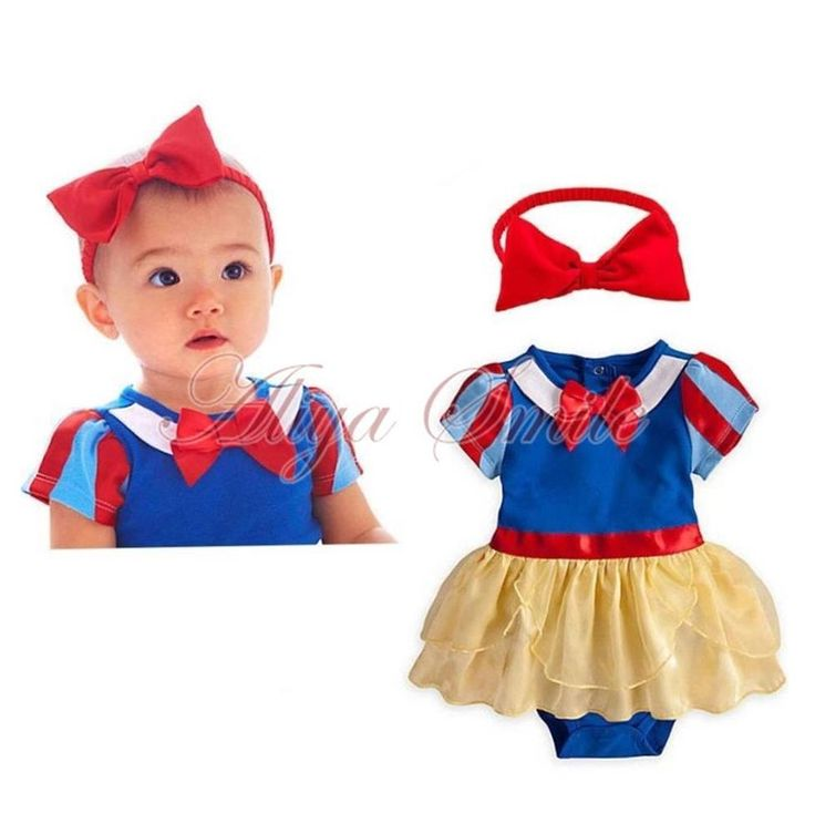 Baby Girls Photo Prop Headband +Romper Dress Snow White Costume Outfits SZ 0-18M #Fashion #2PCSRomperOutfitsSet #DressyEverydayHolidayPageantCasual