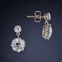 Victorian Diamond Drop Earrings   c.1890
