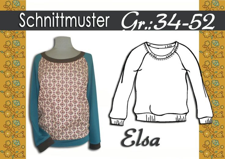 "Schnittmuster/Ebook Raglan Shirt ""Elsa"" Gr:34-52"