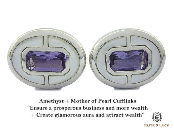 """Amethyst + Mother of Pearl Sterling Silver Cufflinks, Rhodium plated, Prestige Model """"Ensure a prosperous business and more wealth + Create glamorous aura and attract wealth"""" *** Combine 2 Gemstone Powers to double your LUCK ***"""