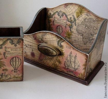 "Набор ""Вокруг света"" - бежевый,канцелярский набор,карандашница,короб для бумаг"