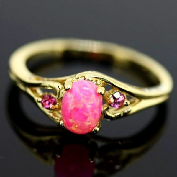 Engagement Pink Fire OPAL + Topaz RING  from CamelysUnikatBijoux by DaWanda.com