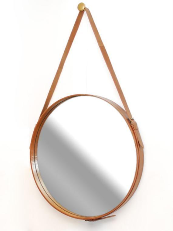 Hanging Leather Mirror $1,420 #ContentsInternationalDesign #SupaCenta #GiftGuides