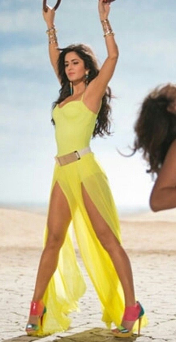 Katrina Kaif gorgeous in Sunny Yellow Dress with double slit & Pumps