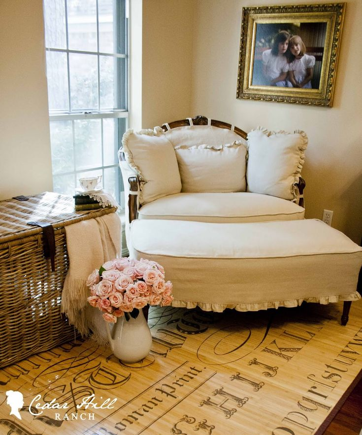Love the way the slipcover was done for this chair and the rug underneath!