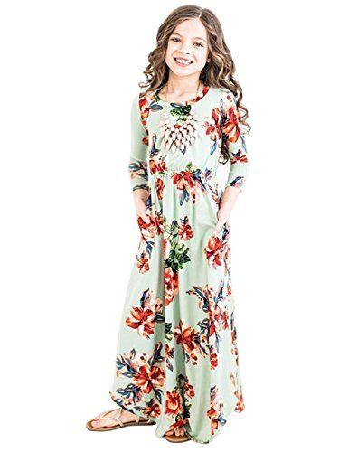 ff82c44dc JYH Girls Maxi Dress, Floral Flared Sewing Pocket Three-Q ...