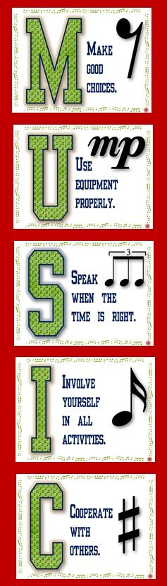 $ on TpT - Music Class Rules POSTERS Set 2! There is one poster/page for each letter in the word MUSIC and one rule per letter.