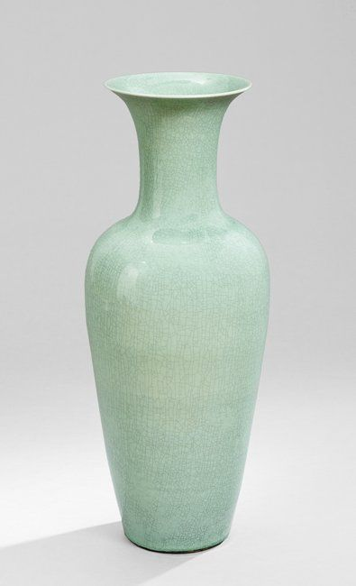 """Large Chinese Celadon Vase, 20th century, the blue-green celadon-glazed porcelain palace vase with a crackled glaze throughout, with an unglazed and unmarked underside, h. 34-1/2"""", dia. 13-1/2""""."""