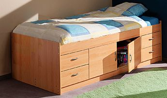 Gamma Midi Cabin Cheap Single Bed with MATTRESS - White or Beech - M2360+M2330