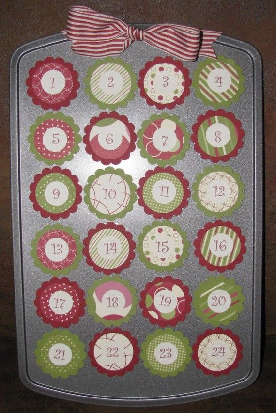 Great idea for your mini muffin pan during the holidays!  Can do them for Valentines Day, Easter, Christmas etc...  Just use adhesive magnet sheets and apply holiday scrapbook paper. You can hang it or put it on an easel!  Put treats in each tin!
