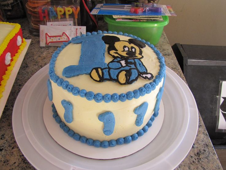 Baby Mickey smash cake for 1st birthday