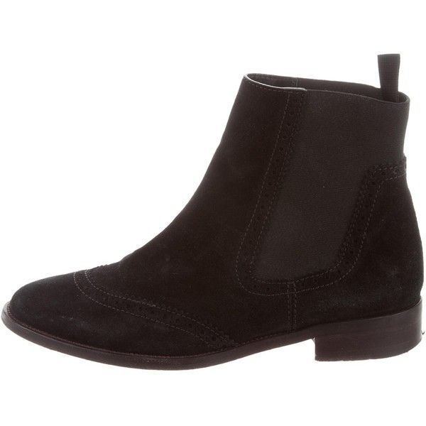 Pre-owned Balenciaga Suede Chelsea Boots (400 AUD) ❤ liked on Polyvore featuring shoes, boots, ankle booties, black, black suede booties, suede booties, round toe booties, chelsea boots and stacked heel booties