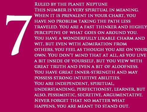 7 is my birth number and strength