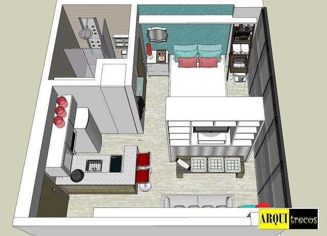 arquitrecos - blog de decoração: Projeto Arquitrecos - Soluções para apartamento de 25 m2