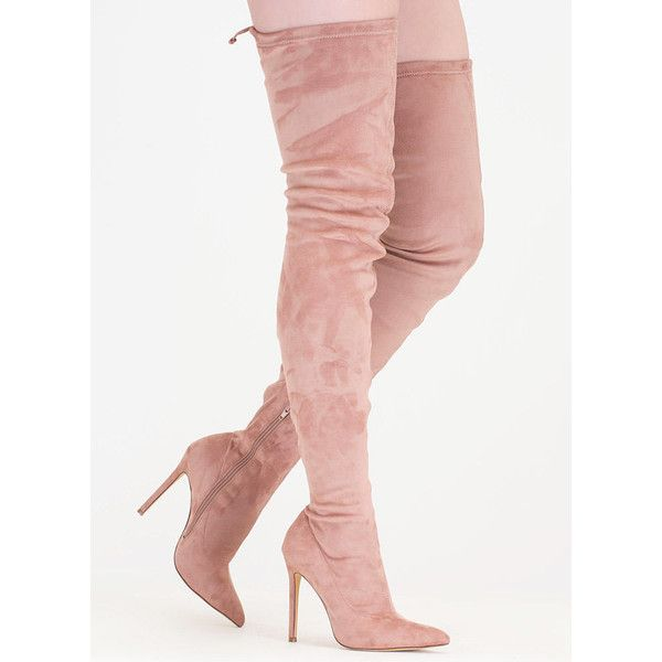 Crush Hard Faux Suede Thigh-High Boots ($42) ❤ liked on Polyvore featuring shoes, boots, over-the-knee boots, pink, over-knee boots, high heel stilettos, pink boots, over the knee thigh high boots and pink thigh high boots