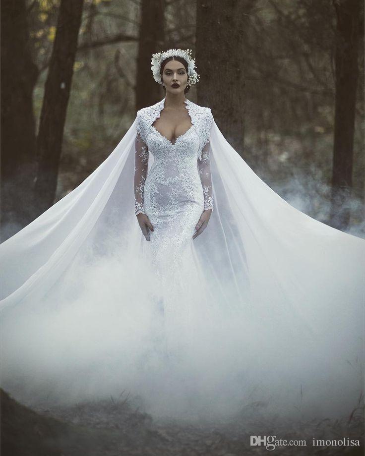 Gorgeous White Lace Mermaid Wedding Dress With Cape Floor Length 2016 Elegant Long Sleeves Bridal Gown