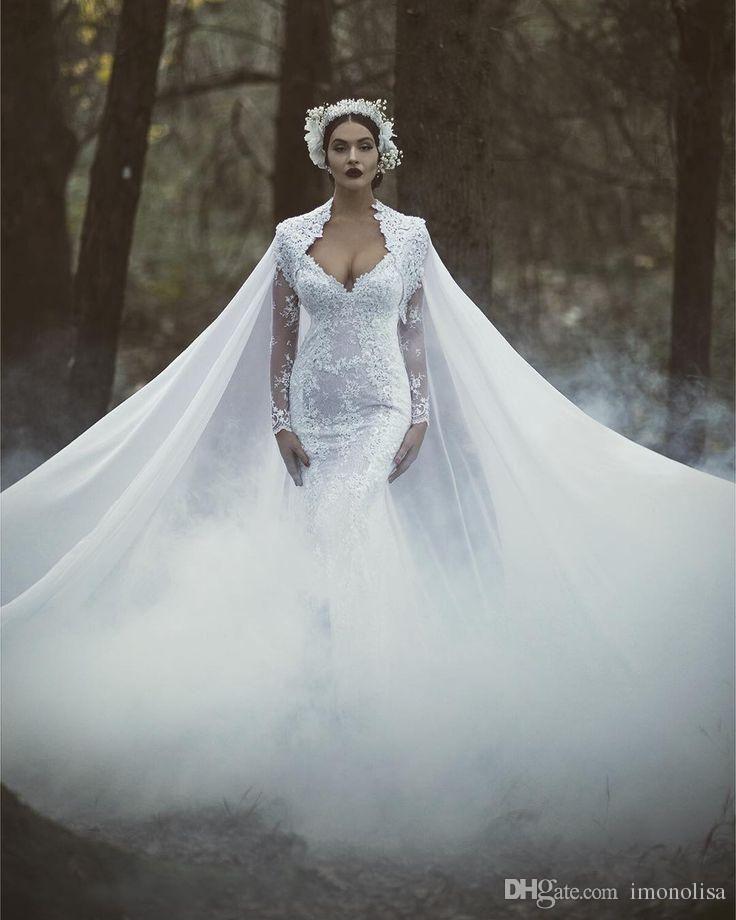 Gorgeous White Lace Mermaid Wedding Dress With Cape Floor Length 2016 Elegant Long Sleeves Bridal Gown Vestido De Noiva Mermaid Wedding Dress With Sleeves Mermaid Wedding Dresses With Lace From Imonolisa, $150.79  Dhgate.Com