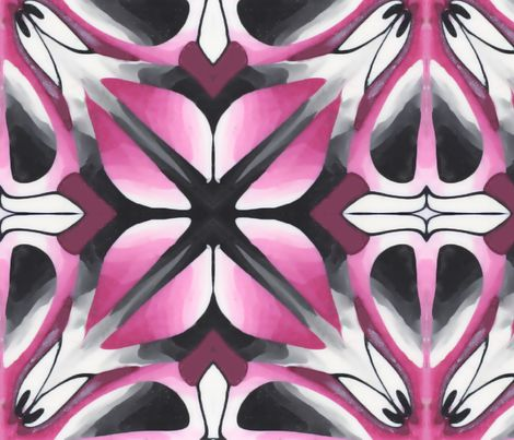 Pink flower tile fabric by doodlepippin on Spoonflower - custom fabric