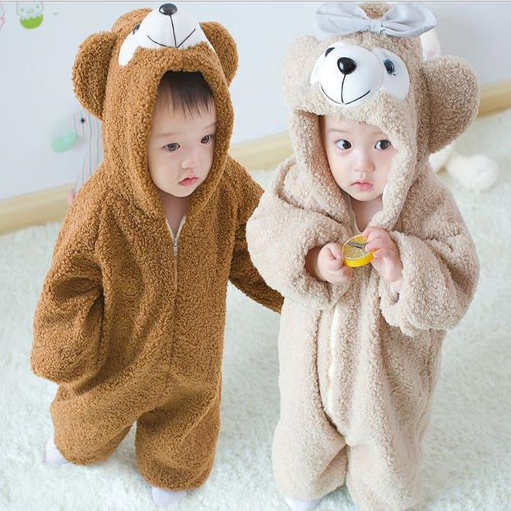 Winter Baby Romper Long Sleeve  Fleece Cotton Character Bear Model Fashion Infant Jumpsuits Zipper Hooded Warm Christmas Romper