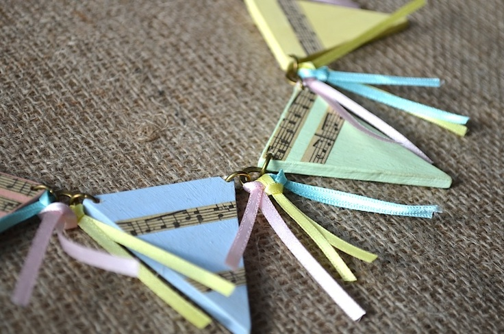 Pastel Bunting Necklace with Pretty Ribbons  £18  www.justlucy.bigcartel.com