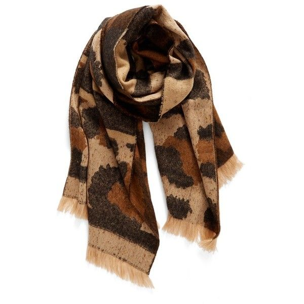 Women's Bp. Mixed Leopard Pattern Scarf ($29) ❤ liked on Polyvore featuring accessories, scarves, brown multi, fringe shawl, woven scarves, leopard print shawl, brown scarves and leopard shawl