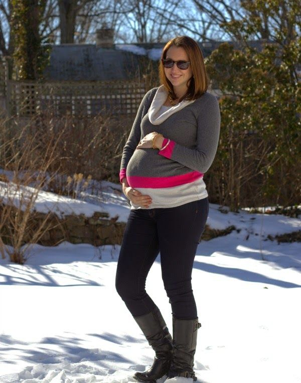 See What Katie Wears: Pop of Pink Maternity Sweater, Jeans & Boots