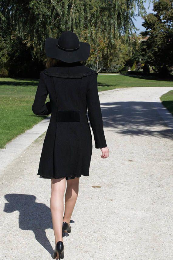 Manteau femme élégant/ noir en laine bouillie/ taille 36-38/