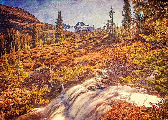 Mountain Photography - Vintage Decor, Rockies, Landscape Image, Autumn, Rustic, Dreamy Texture, Warm Fall Colors, Glacier Water, Nature